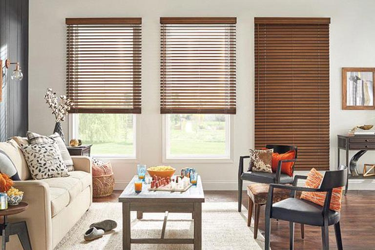 "2"" Premium Cordless Privacy No Holes Stained Faux Wood Blinds"