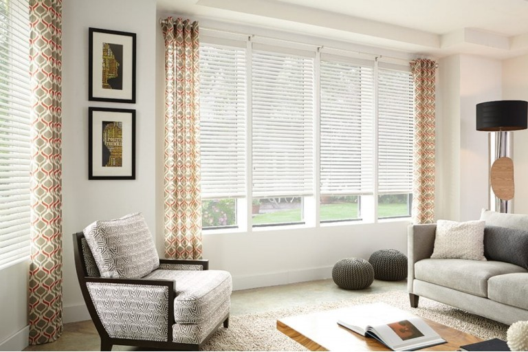 "2"" Premium Cordless Privacy No Holes Faux Wood Blinds"
