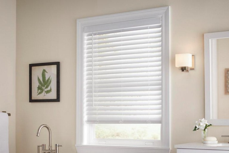"2 1/2"" Premium Cordless Privacy No Holes Faux Wood Blinds"