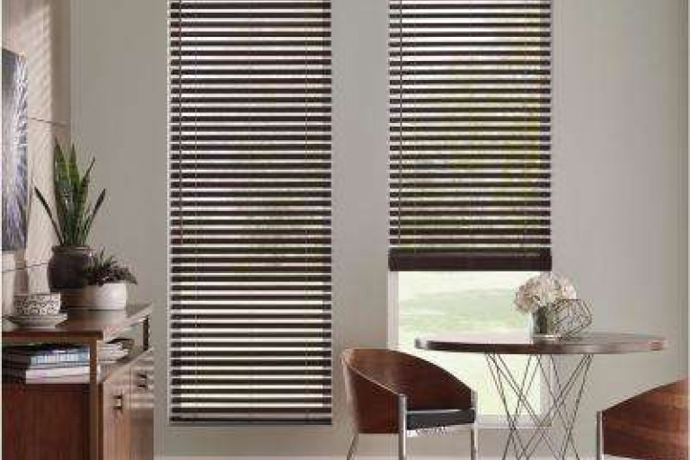"2 1/2"" Premium Cordless Privacy No Holes Stained Faux Wood Blinds"