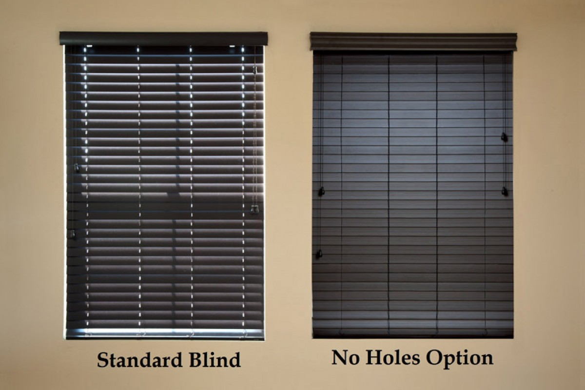 "2"" Premium Stained Privacy No Holes Faux Wood Blinds"