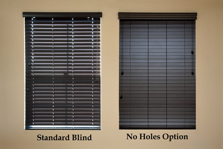 "2"" Premium Privacy No Holes Faux Wood Blinds"
