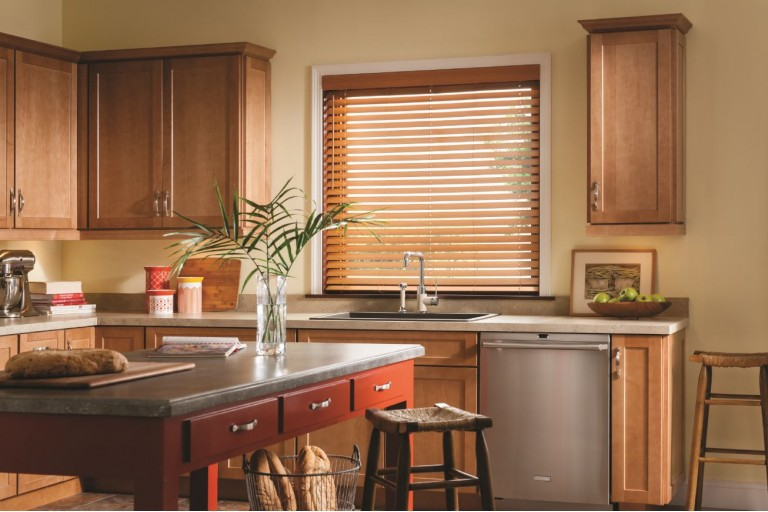 "2 1/2"" Cordless Premium Privacy No Holes Wood Blinds"