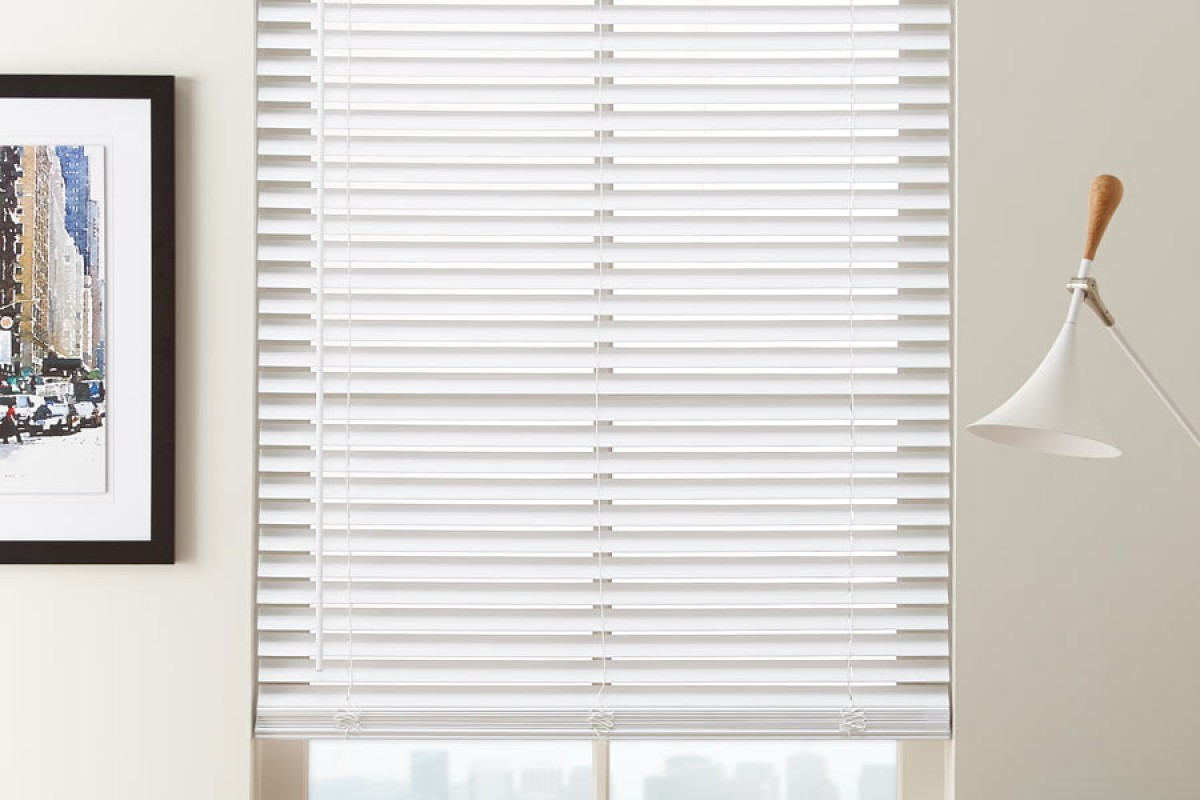 """2 1/2"""" Cordless Premium Privacy No Holes Wood Blinds"""