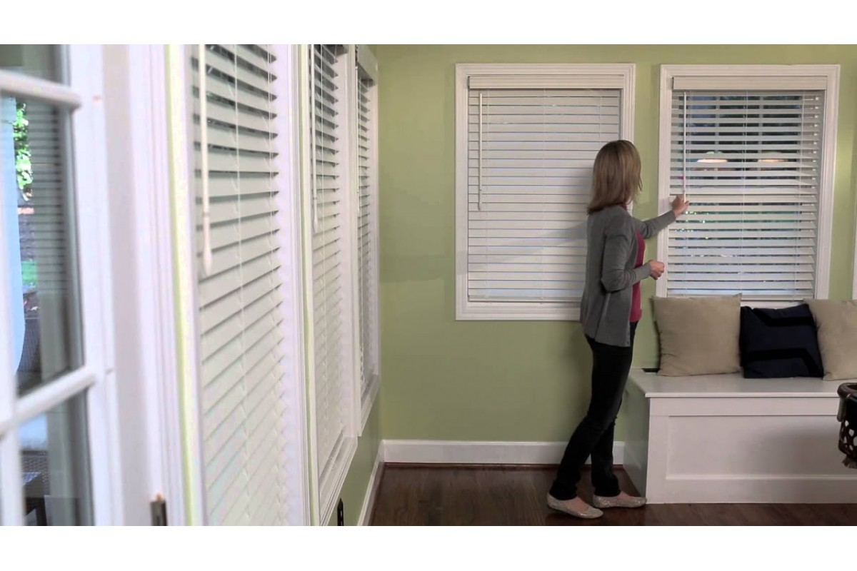 """2"""" Cordless Premium Privacy No Holes Wood Blinds"""