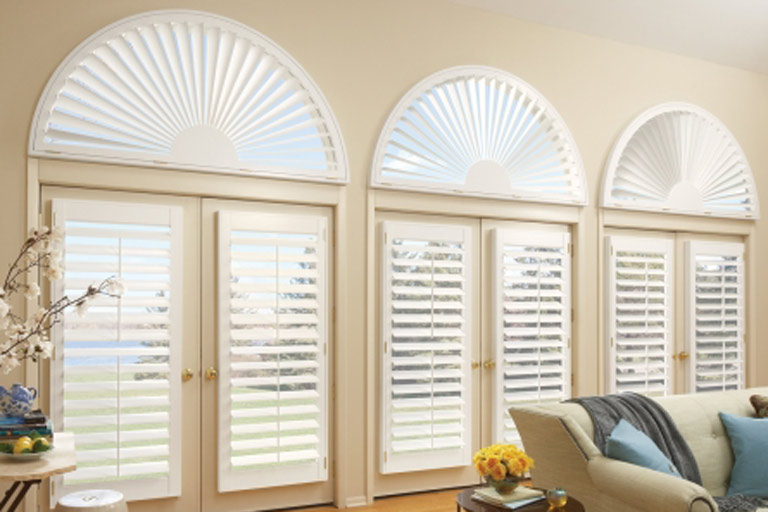 Premium Arched Sunburst Wood Shutter
