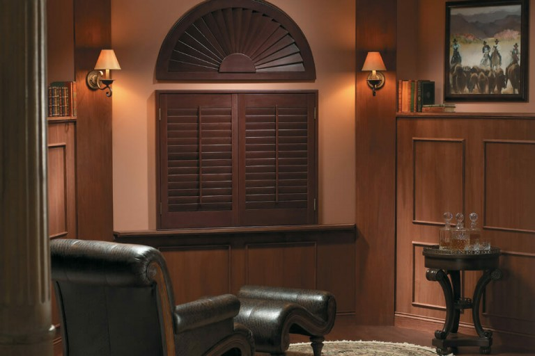 Premium Arched Sunburst Wood Shutter