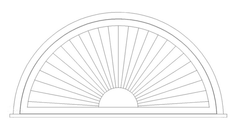 "Arch on Shutter / Window Sill Add 1"" Mullion"